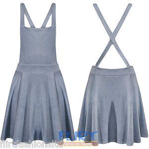 Womens Skater Dress Ladies Dungaree Pinafore Denim Print Cross Back Top Skirt