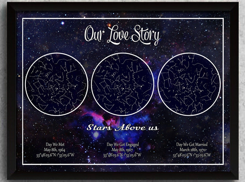 Night Sky Star Map Custom Personalised Valentines Gift Wedding Engagement Etc