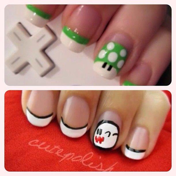 Mario Brothers Character Nail Art // Green Mushroom, Ghost ...