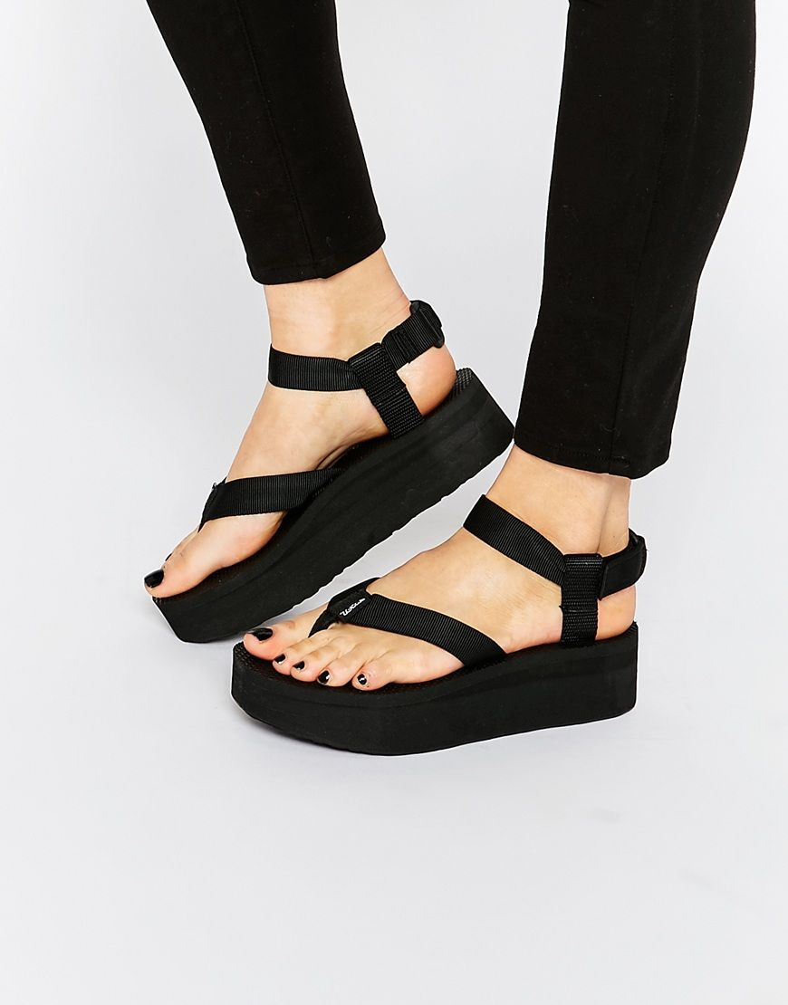 Teva Black Flatform Universal Sandals at asos.com