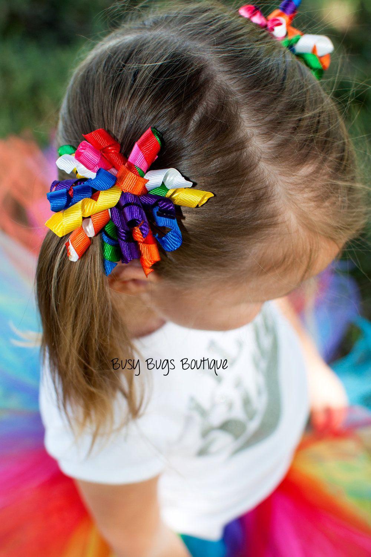 Rainbow Korker PigTail Bows. 5.50, via Etsy. Diademas