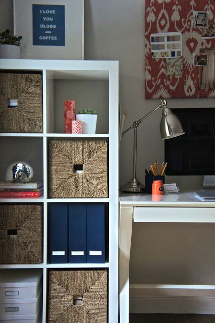 Home Office Inspiration Desk, Expedit Shelves, Navy Blue