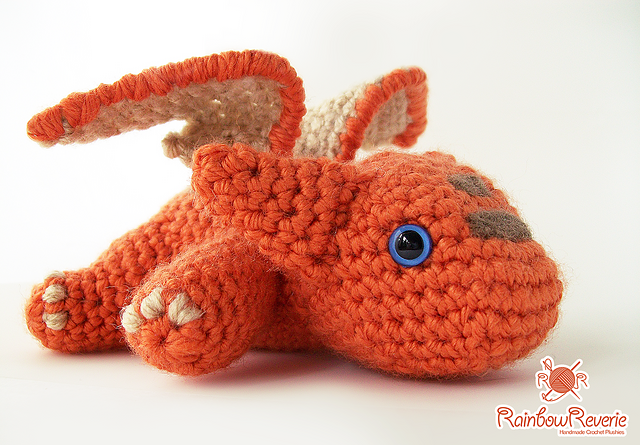"Baby Dragon (8inches long) - Free Amigurumi Pattern - PDF Format - Click to ""baby_dragon_amigurumi_pdf_by_rainbowreverie-d7flu4k.pdf"" here: http://www.ravelry.com/patterns/library/baby-dragon-amigurumi-plush-toy"