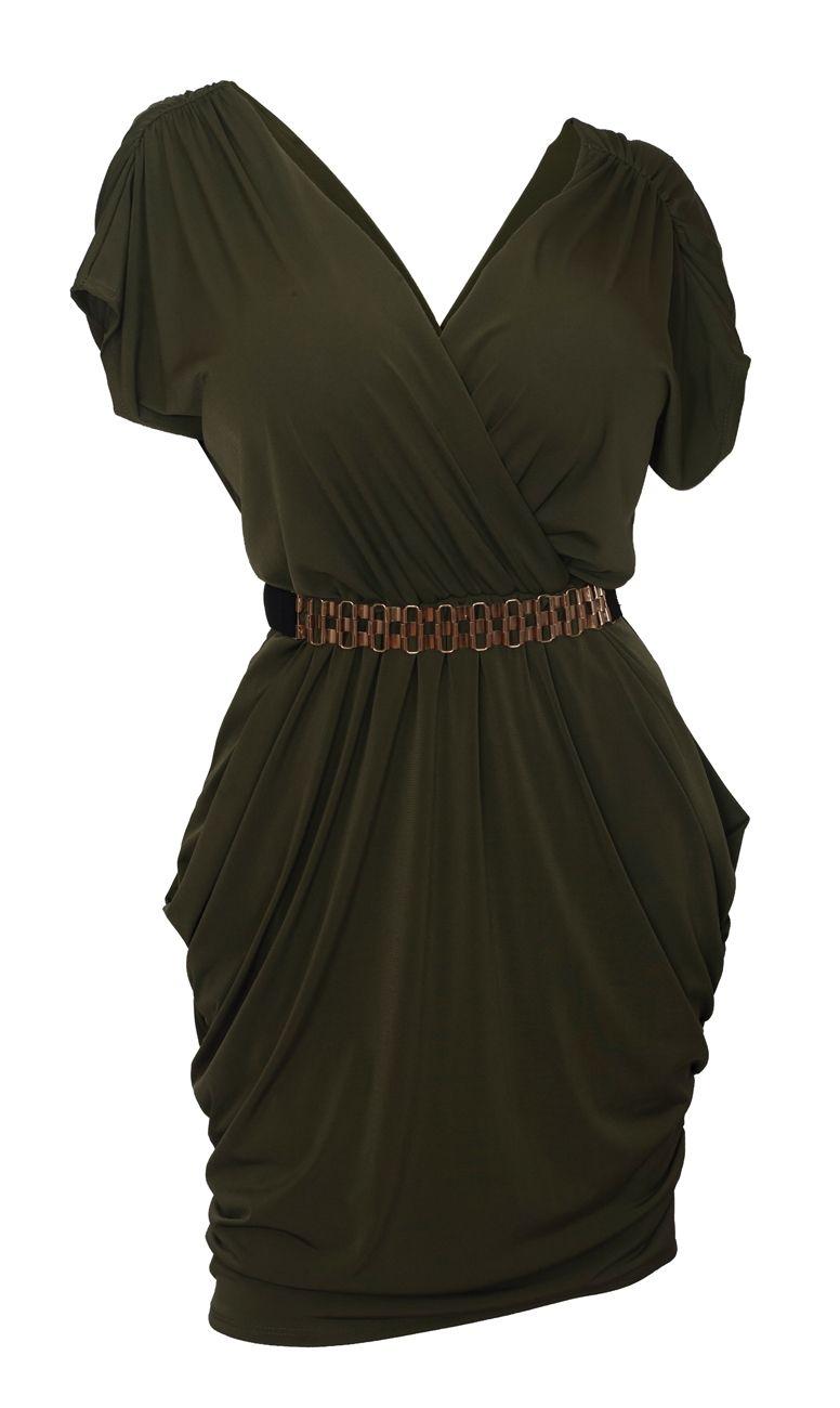 ce17fe248c Plus size Deep V-Neck Wrap Bodice Dress Dark Olive Green ...