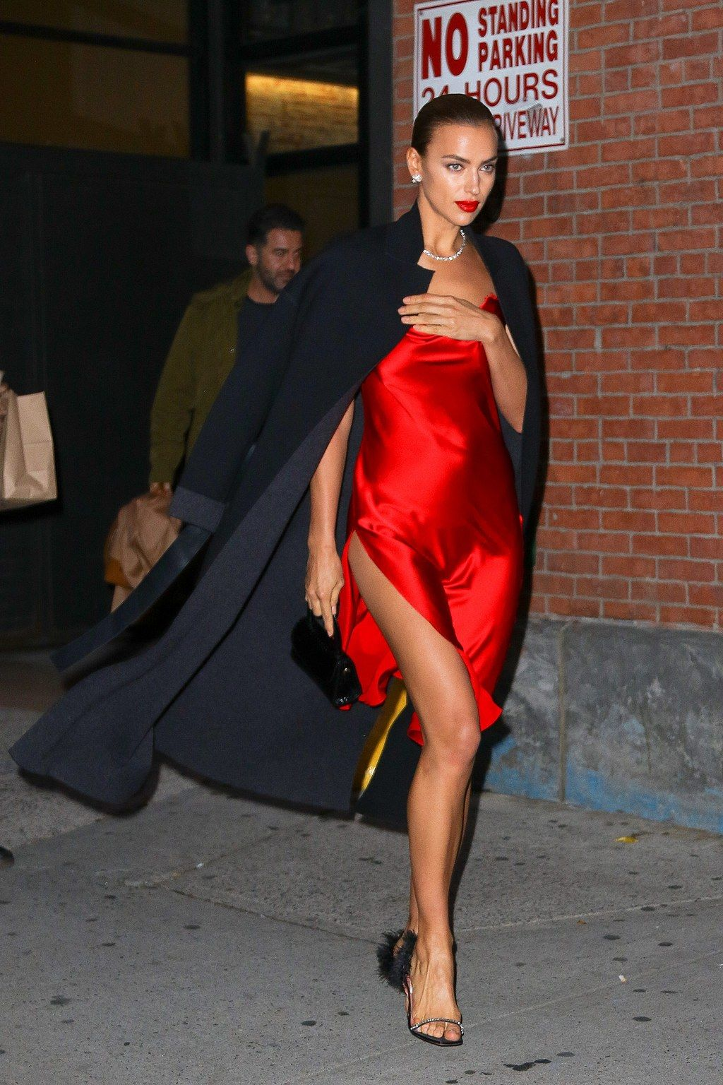 Irina Shayk Steps Out With A Red Lip
