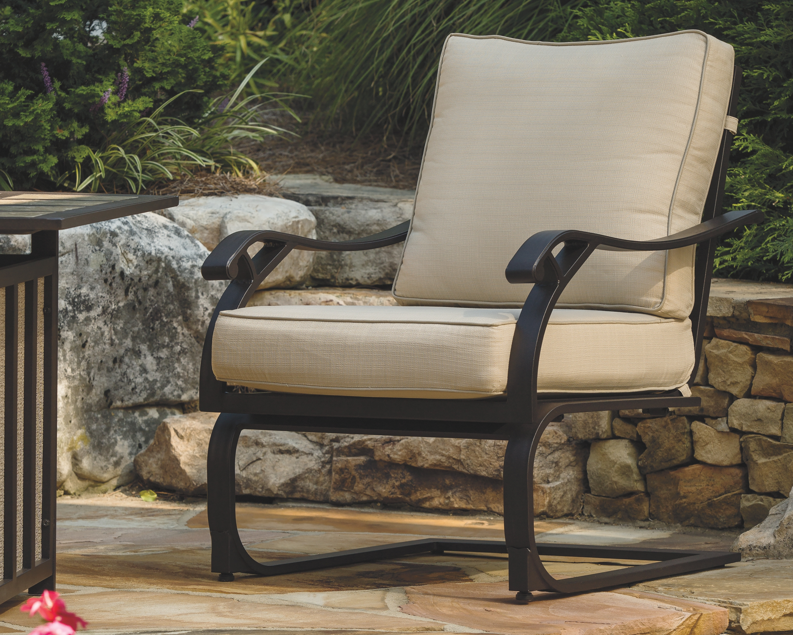 Wandon Lounge Chair Set Of 4 Beige Brown Patio Seating Chair