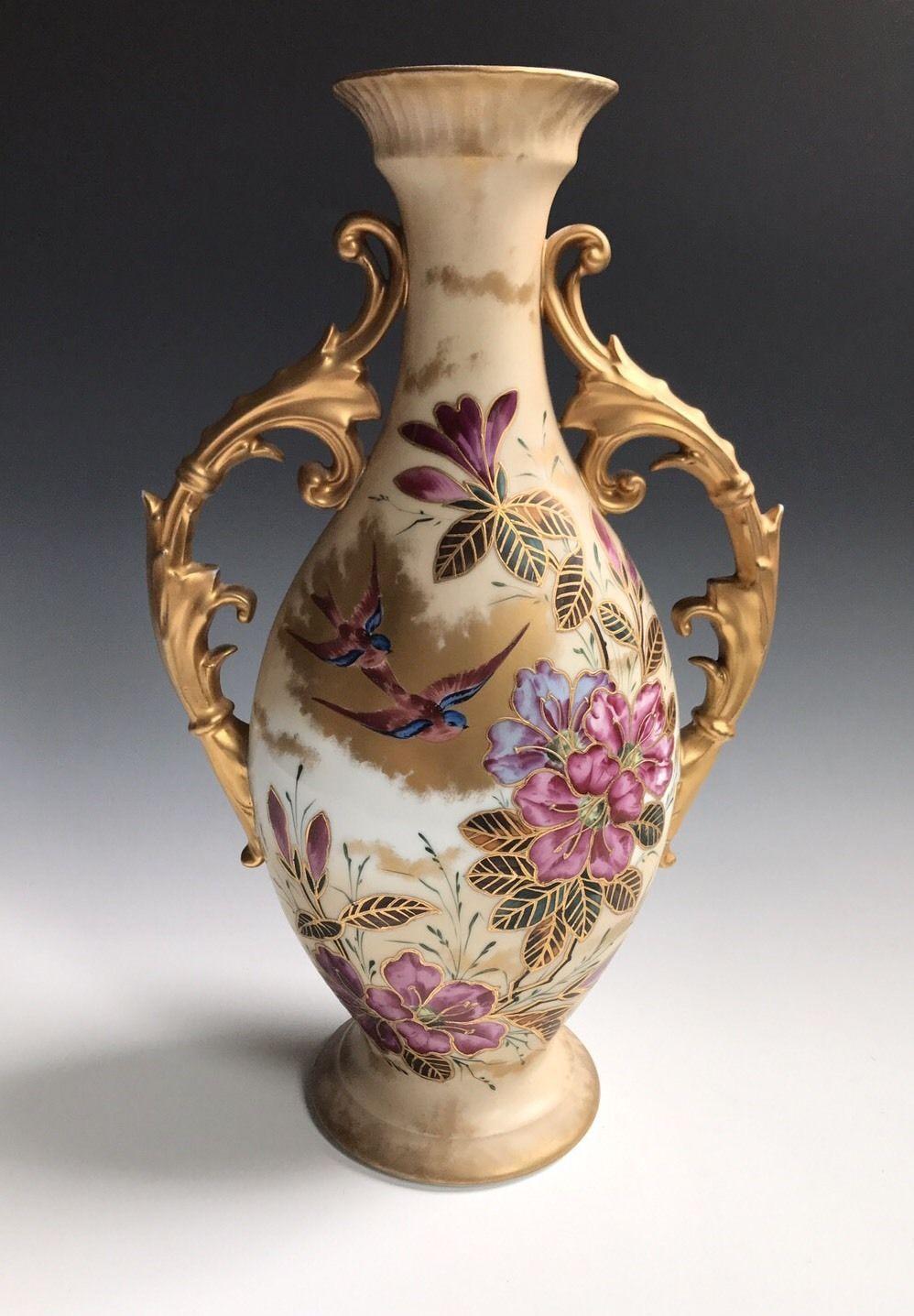 A Large Antique Porcelain European Hand Painted Flower Vase Ebay Flower Vases Vase Antique Porcelain