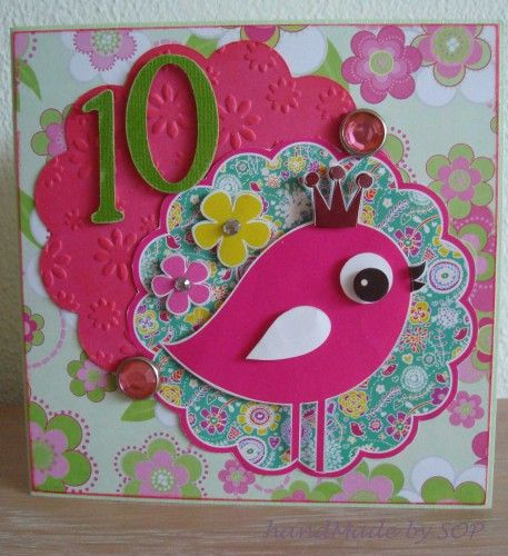 Made By SOP » Card for teenage girl with picture bird in 3D making - why sop is used