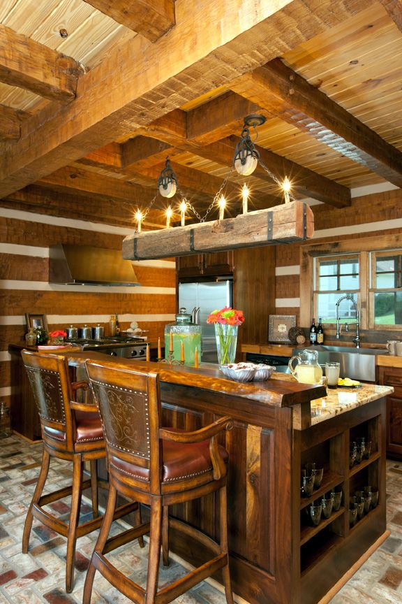 Medium Dark Cabinets With Timber Frame Log Home Thick White