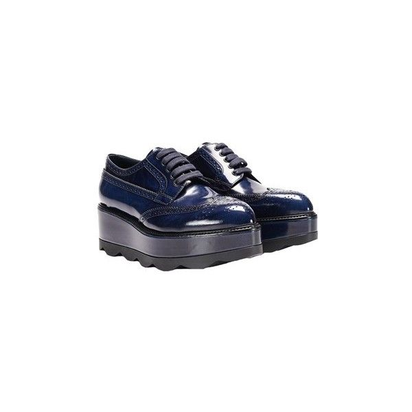 Prada Derby Shoes (£610) ❤ liked on Polyvore featuring shoes, oxfords, blue, wedge heel shoes, prada oxford, wedge oxfords, prada shoes and blue oxfords