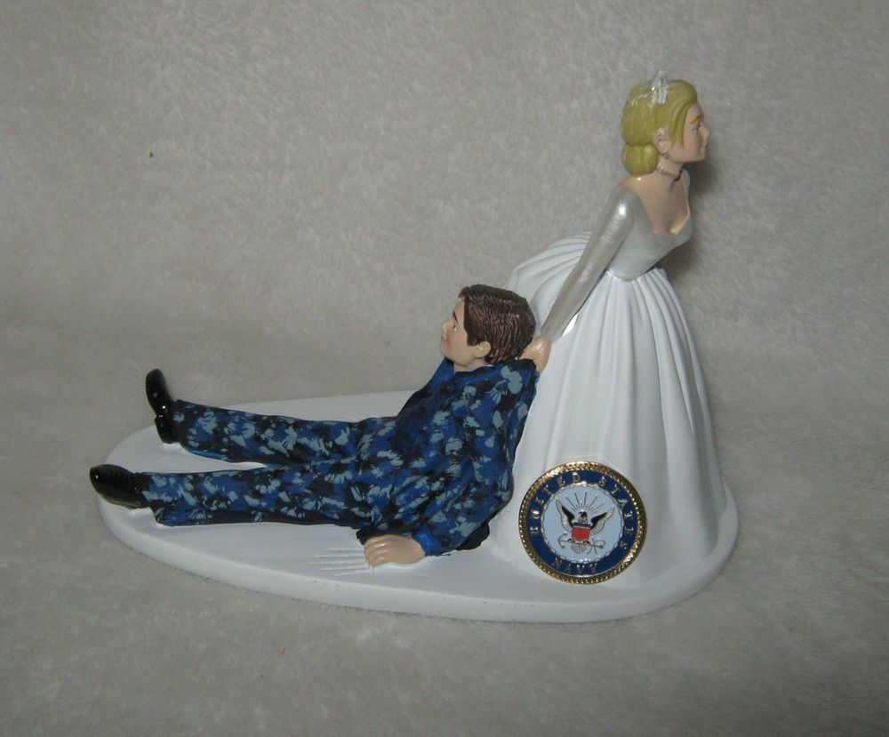 Wedding Reception Party US Navy Military Cake Topper Blue Camo Bride Dragging