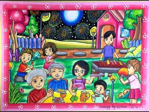 Cara Mudah Menggambar Keluarga Merayakan Tahun Baru Serta Gradasi Warna Oil Pastel Youtube Gambar Pastel Buku Gambar Gambar