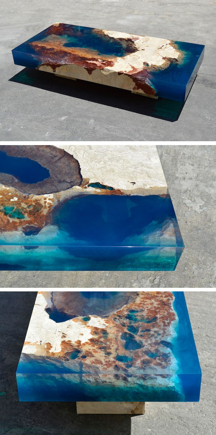 Natural Stone And Resin Coffee Table Brings The Soothing