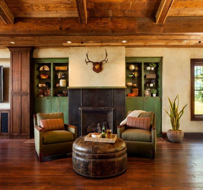 chimeneas de leña, propuesta acogedor, dos sillones vintage y mesa