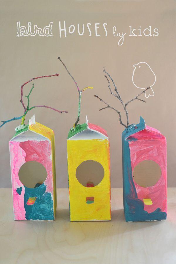 kids make this simple bird house craft from milk cartons