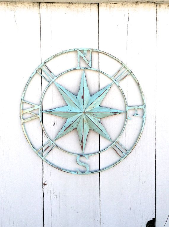 Nautical Wall Decor Metal Compass Wall Art By Honeywoodhome