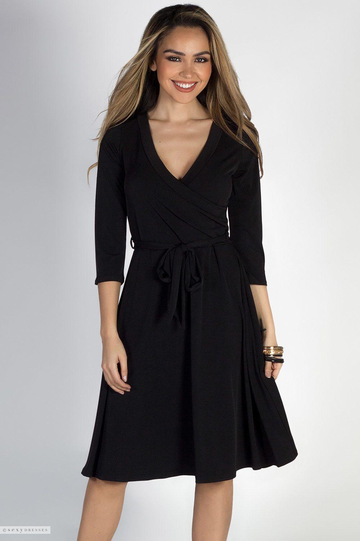Well Dressed Black 3 4 Sleeve A Line Wrap Dress Dresses Classy Dress Black Dresses Classy [ 1500 x 1000 Pixel ]