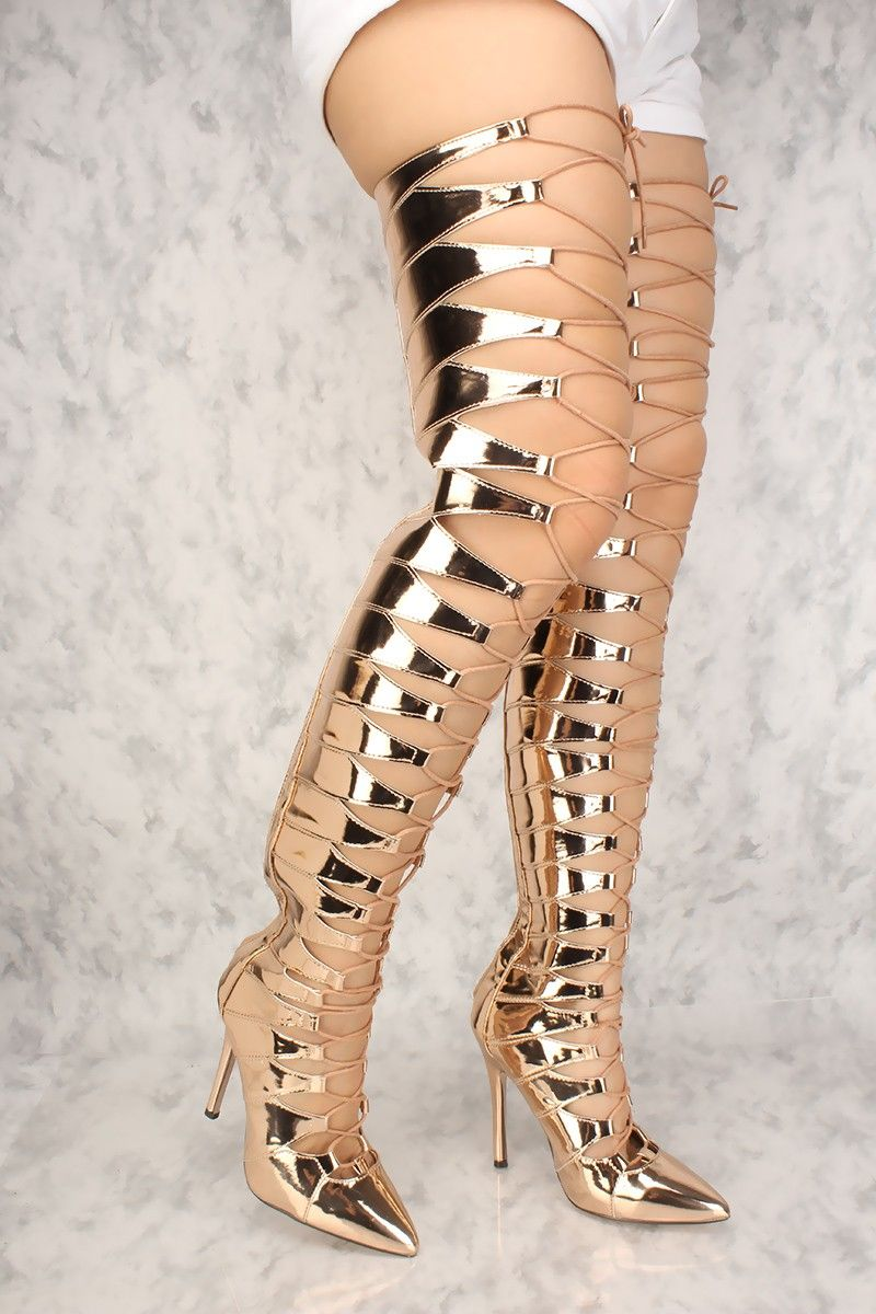 2fbdcfb983e Sexy Rose Gold Metallic Lace Up High Heel Thigh High Boots Patent