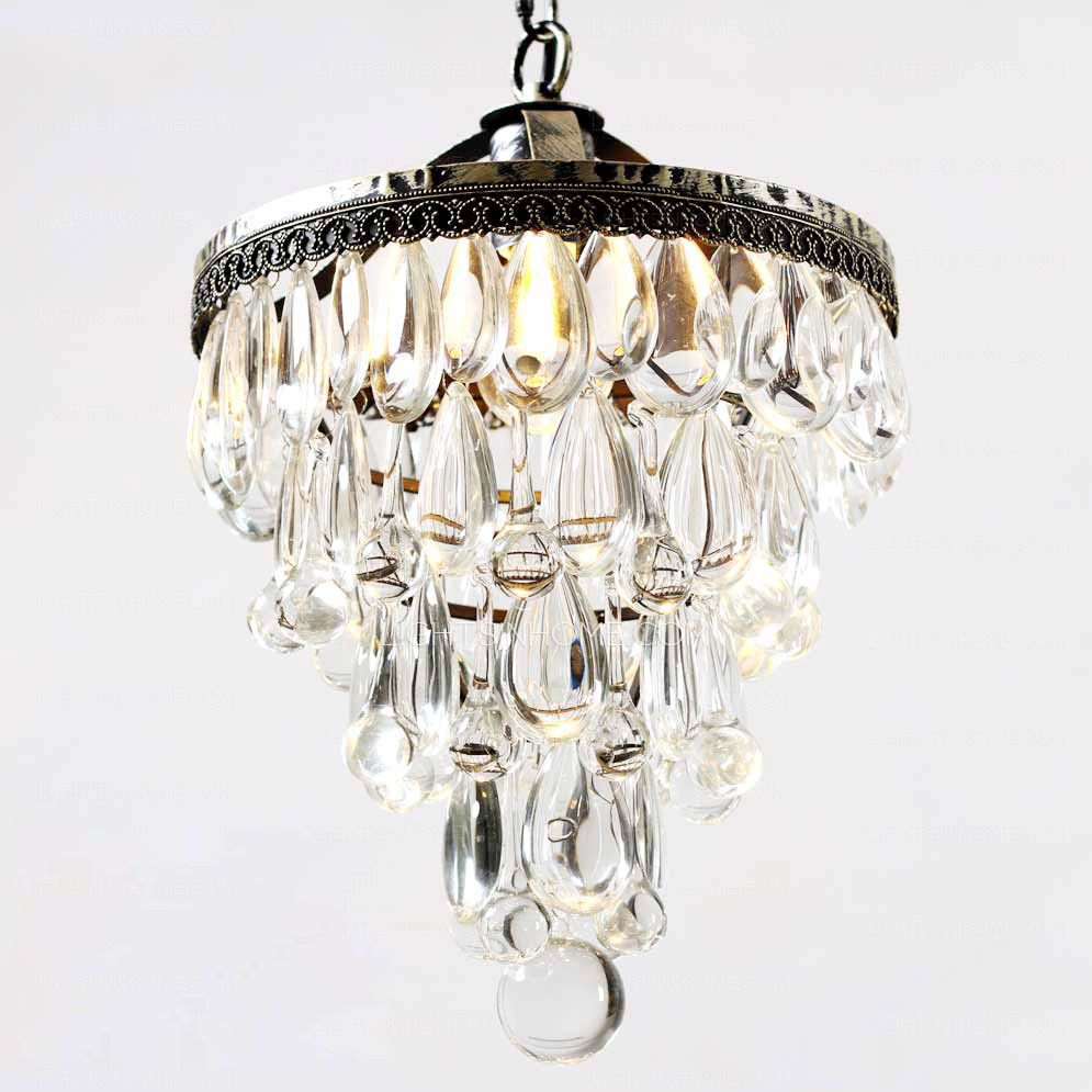 Vintage Wrought Iron 14 1 H Small Crystal Chandelier Iron