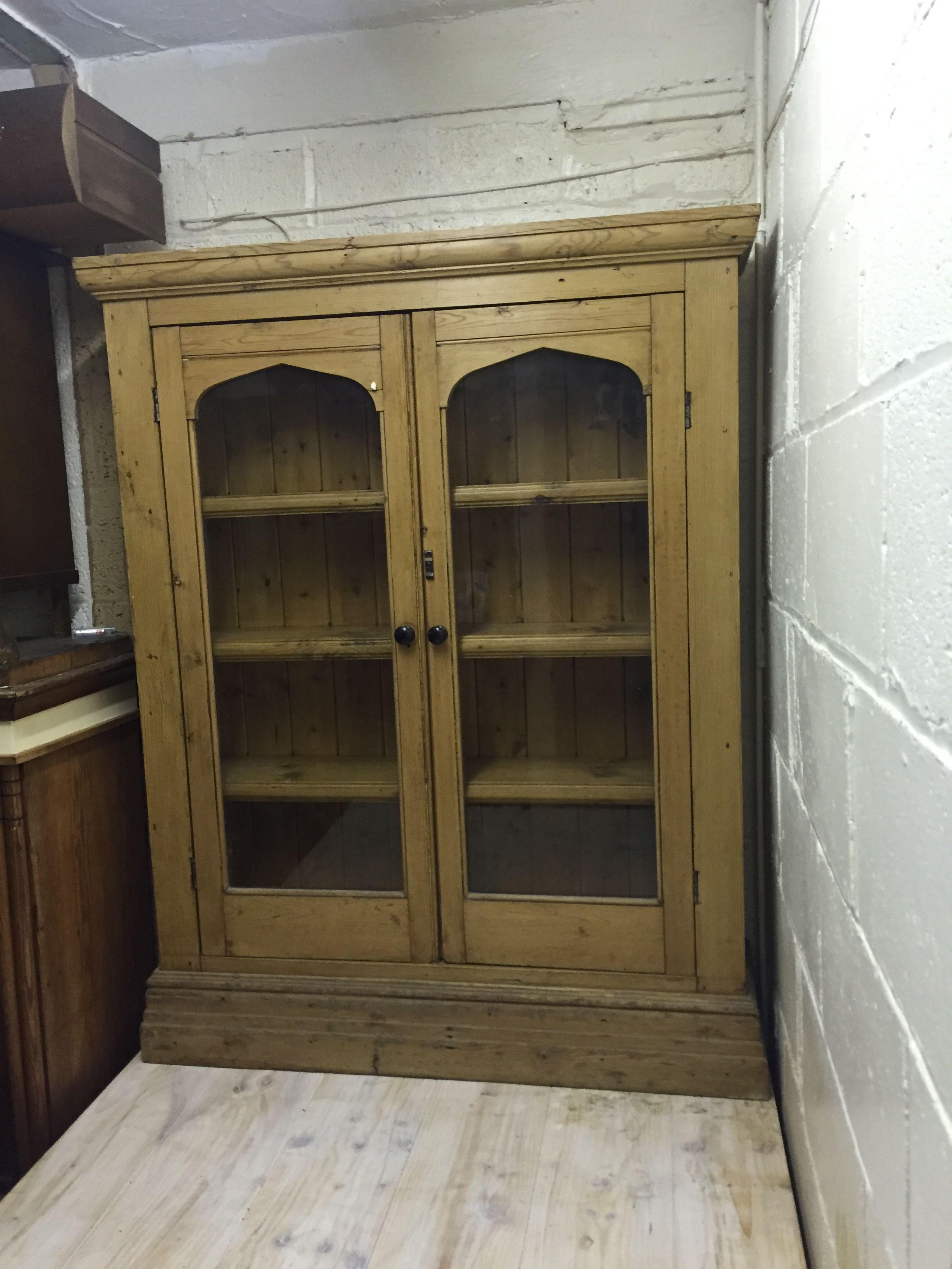 Vintage Pine Glass Fronted Display Unit