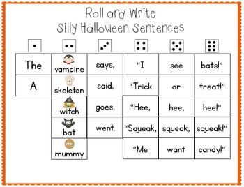 Roll And Write Silly Halloween Sentences With Images Halloween
