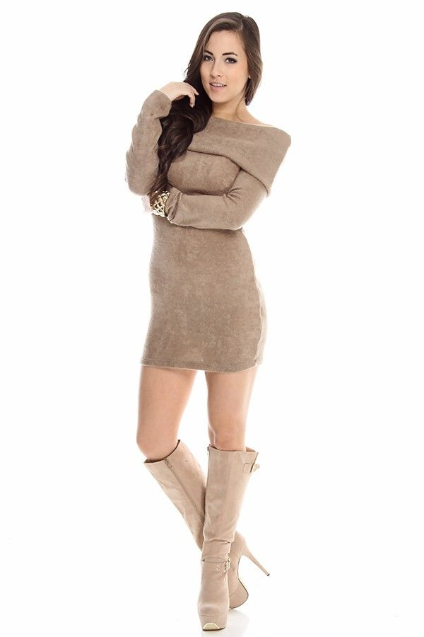 taupe sweater dress#off shoulder sweater dress#long sleeve sweater ...