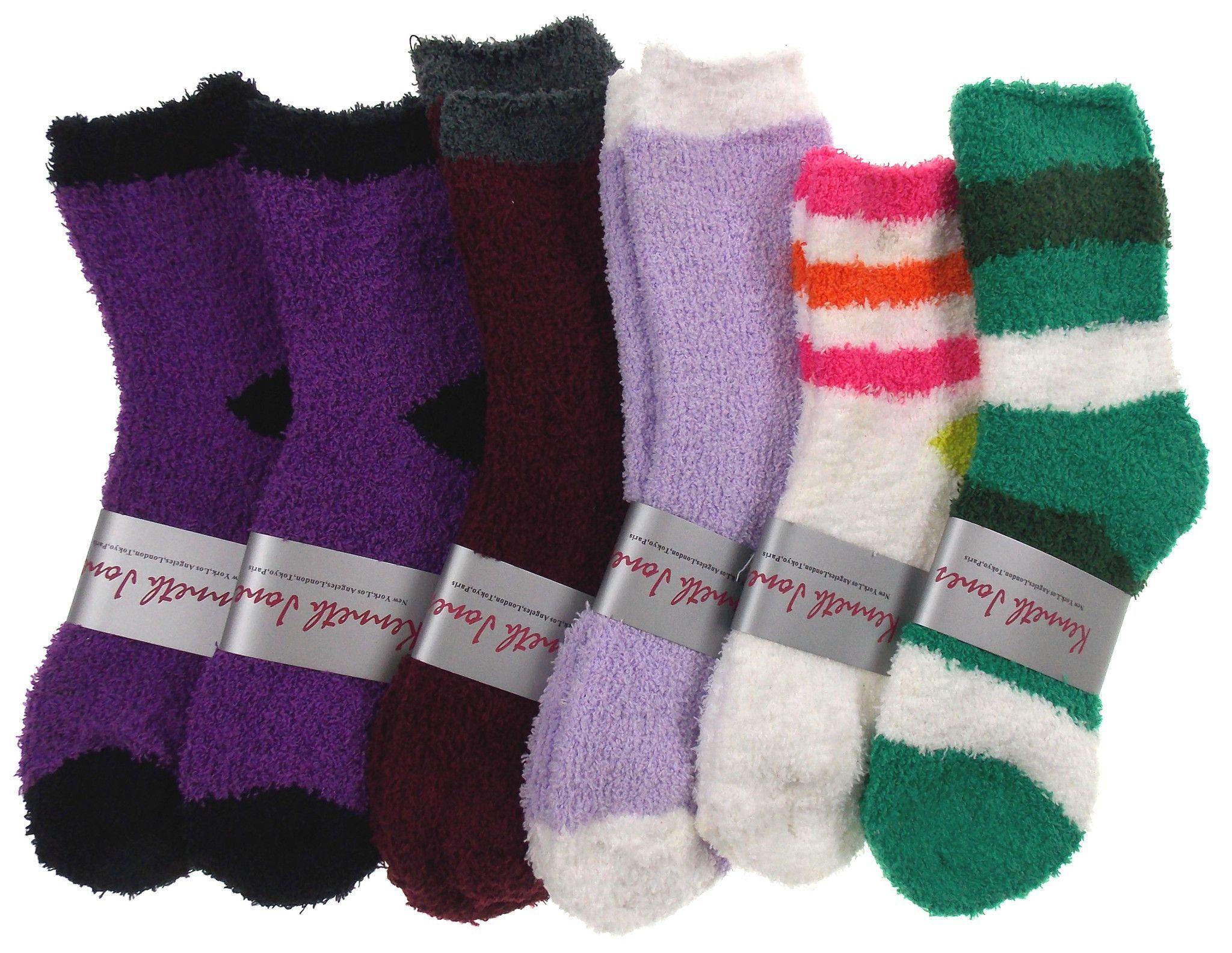 Lot of 6 Pairs Cozy Socks 4-10 Women Crew Kenneth Jones Fuzzy Warm Black Green