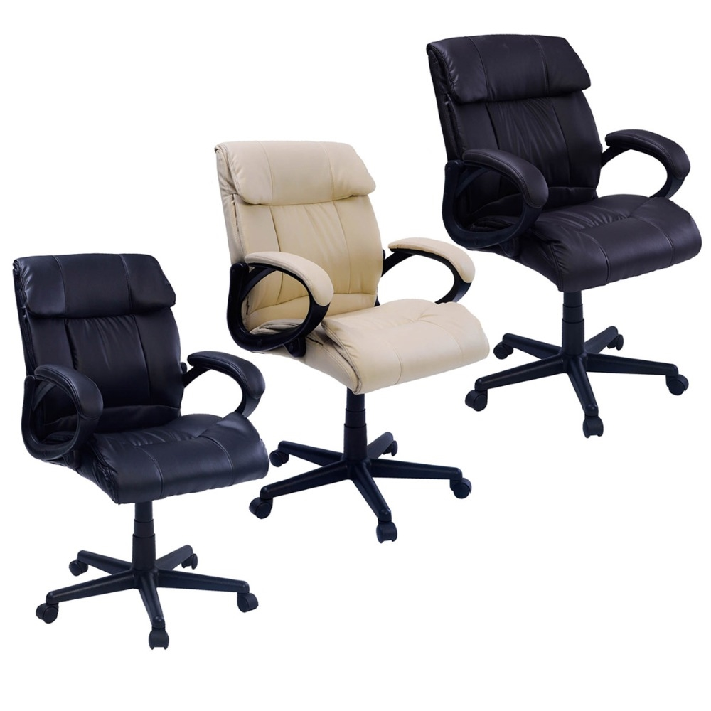 137.88$  Buy here - http://alizrp.worldwells.pw/go.php?t=32618635596 - Padded Leather Office Chair Swivel Luxury Adjustable Computer Desk Office Chair 3 COLORS  CB10054