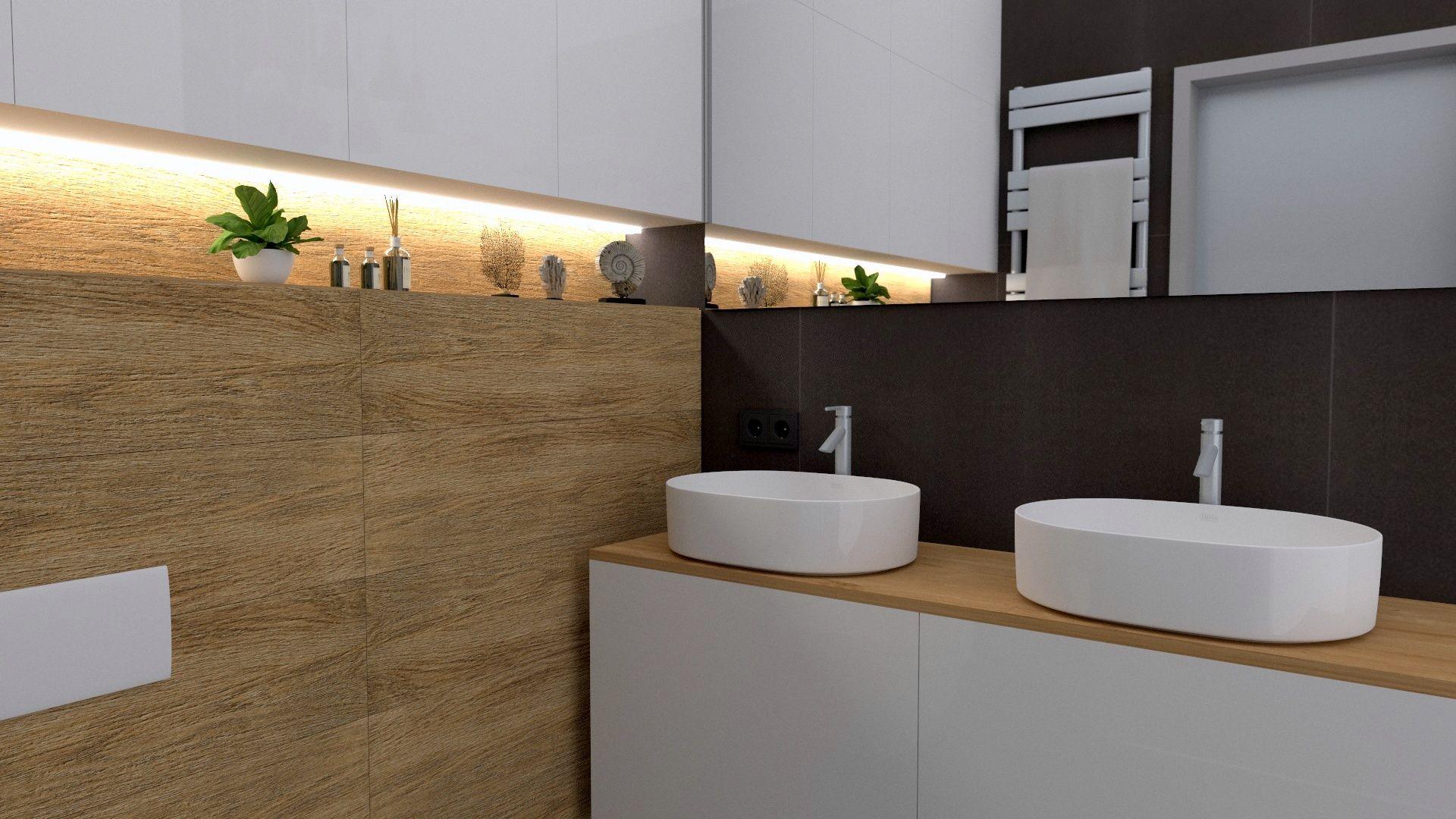 Łazienka drewno i biel, dwie umywalki | Łazienka ...
