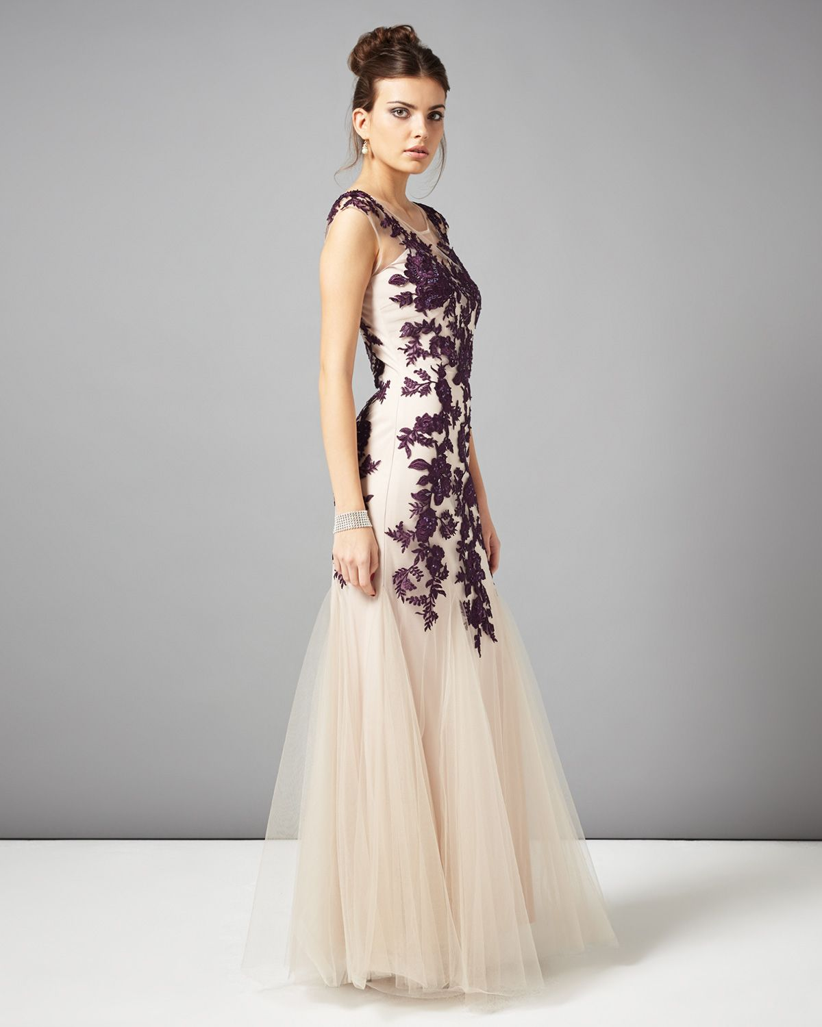 Dresses | Neutral Rita Tulle Full Length Dress | Phase Eight ...