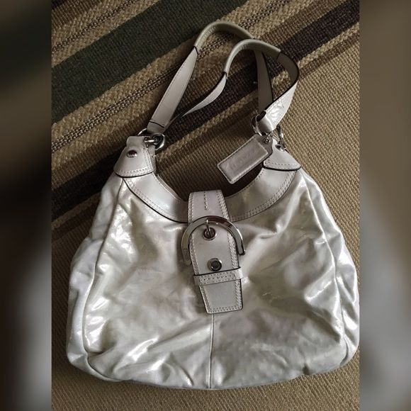 Authentic Coach purse, open to offers! :) Microfiber metallic shoulder bag with big clasp and 2-3 compartments inside Coach Bags Shoulder Bags