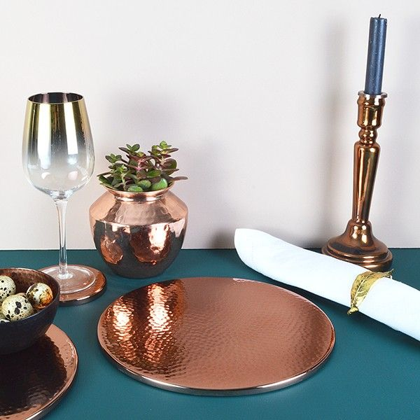 Copper Placemats Set Of 2 Trivet Audenza Dining Table Copper Rose Gold Kitchen Placemats