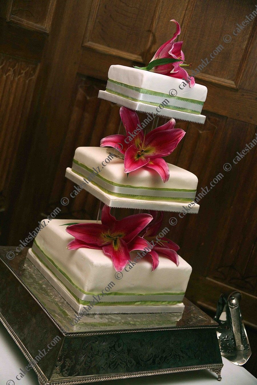 floating square tiered cake stand Pyramid Tier Square Display