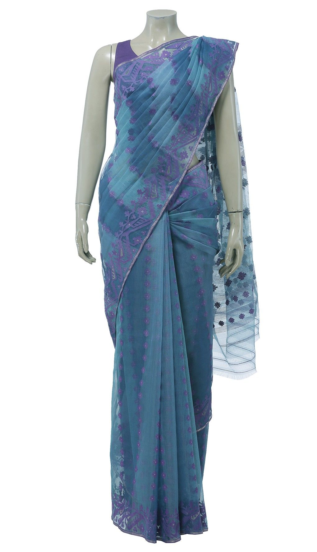 Uncategorized Teal Color Shades muslin festival two shades of blue half silk jamdani saree saree