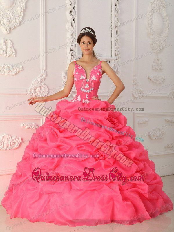 fa56e9d1acea Appliqued and Flowery Straps Quinceanera Gown in Watermelon Red ...