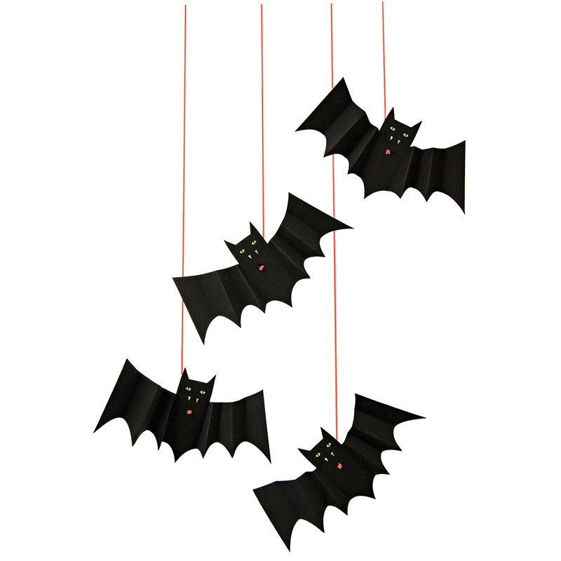 hanging bat decoration ideas with holographic silver accents by meri meri sold by bonjour fete - Bat Halloween Decorations