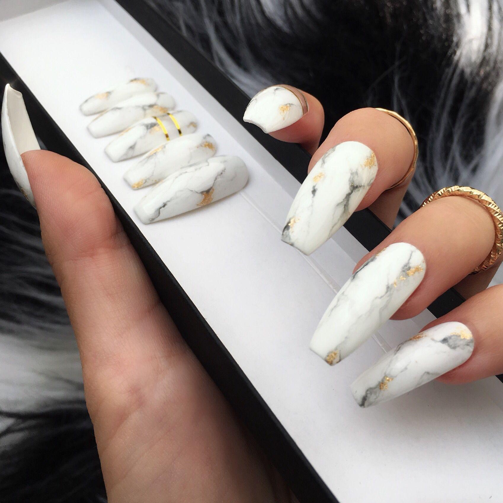 White Marble Gold Press On Nails White Nails With Gold Gold Nails Press On Nails