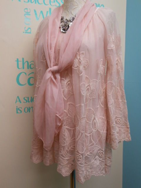 STUNNING LAGENLOOK EMBROIDERED LACE TUNIC & SCARF IN PINK FITS SIZES 12-16