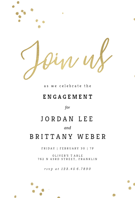 Minimal Confetti Engagement Party Invitation Template Free Greetings Island Party Invite Template Party Invitations Diy Dinner Party Invitations
