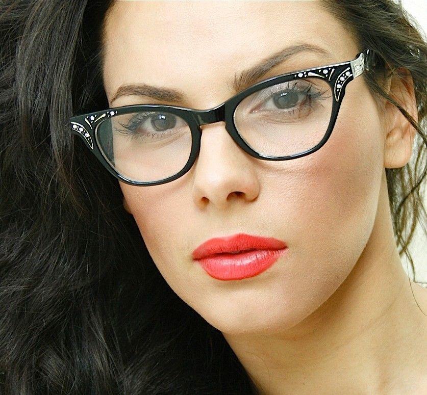 vintage black frame clear lens women designer cat eye wayfarer eyeglasses stones