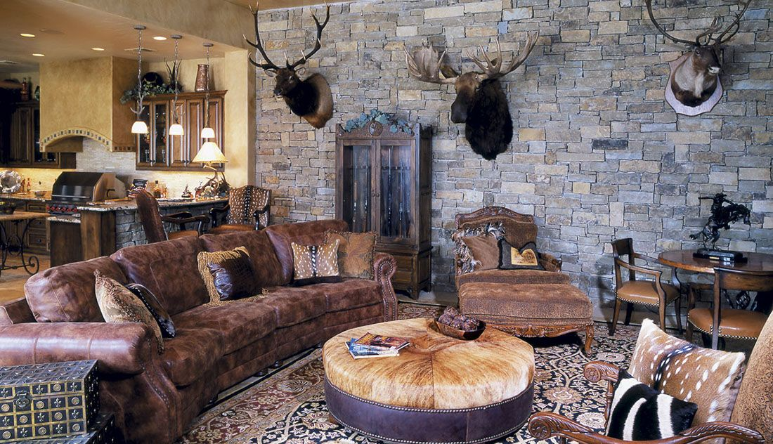 Hill Country Style Leather Sofa Chairs Ottoman With Western Transitional Accessories And Oriental Rug