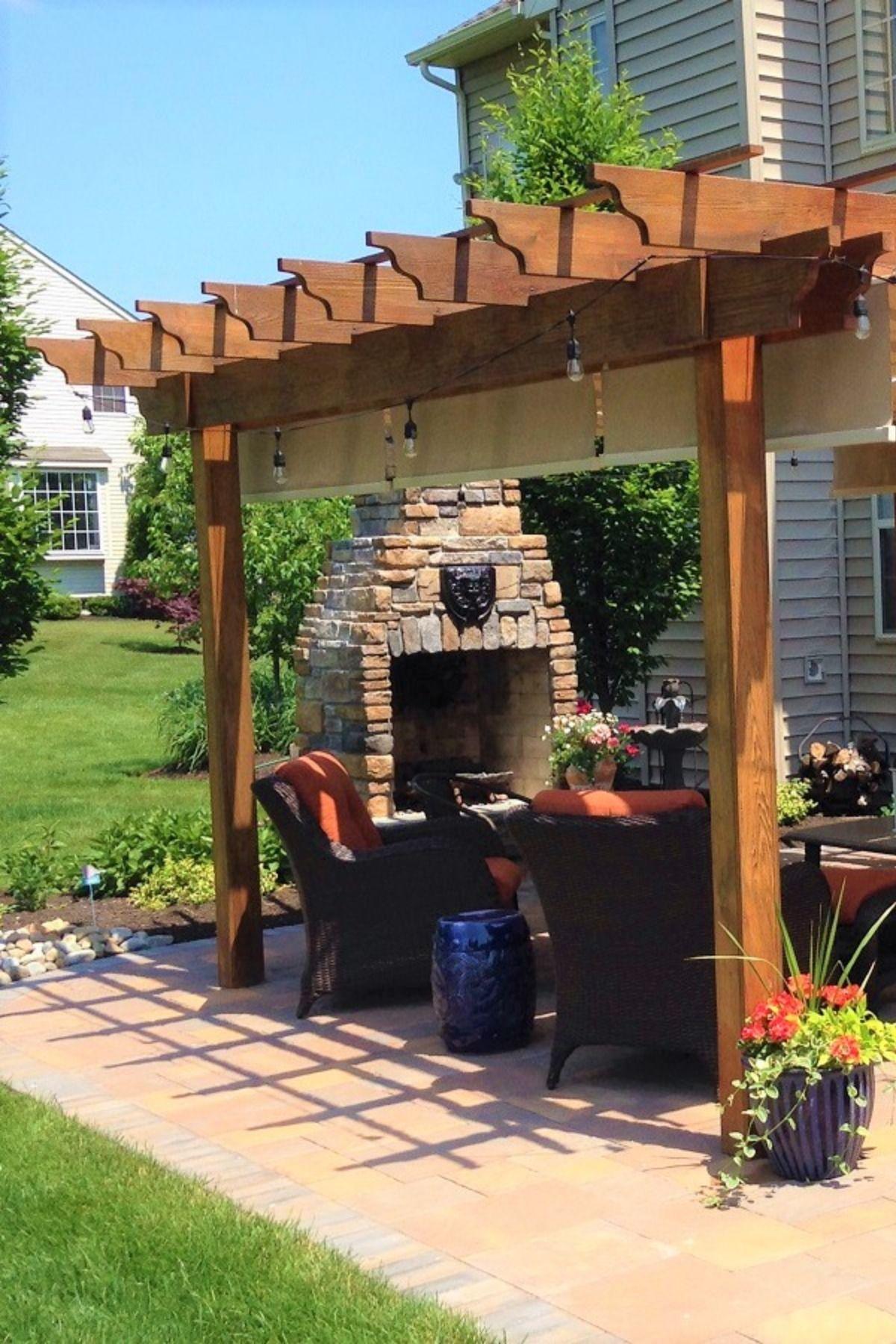 Backyard Pergola With Added Fabric Waterproof Awnings On Cables Pergola Shade Cover Backyard Pergola Pergola Shade