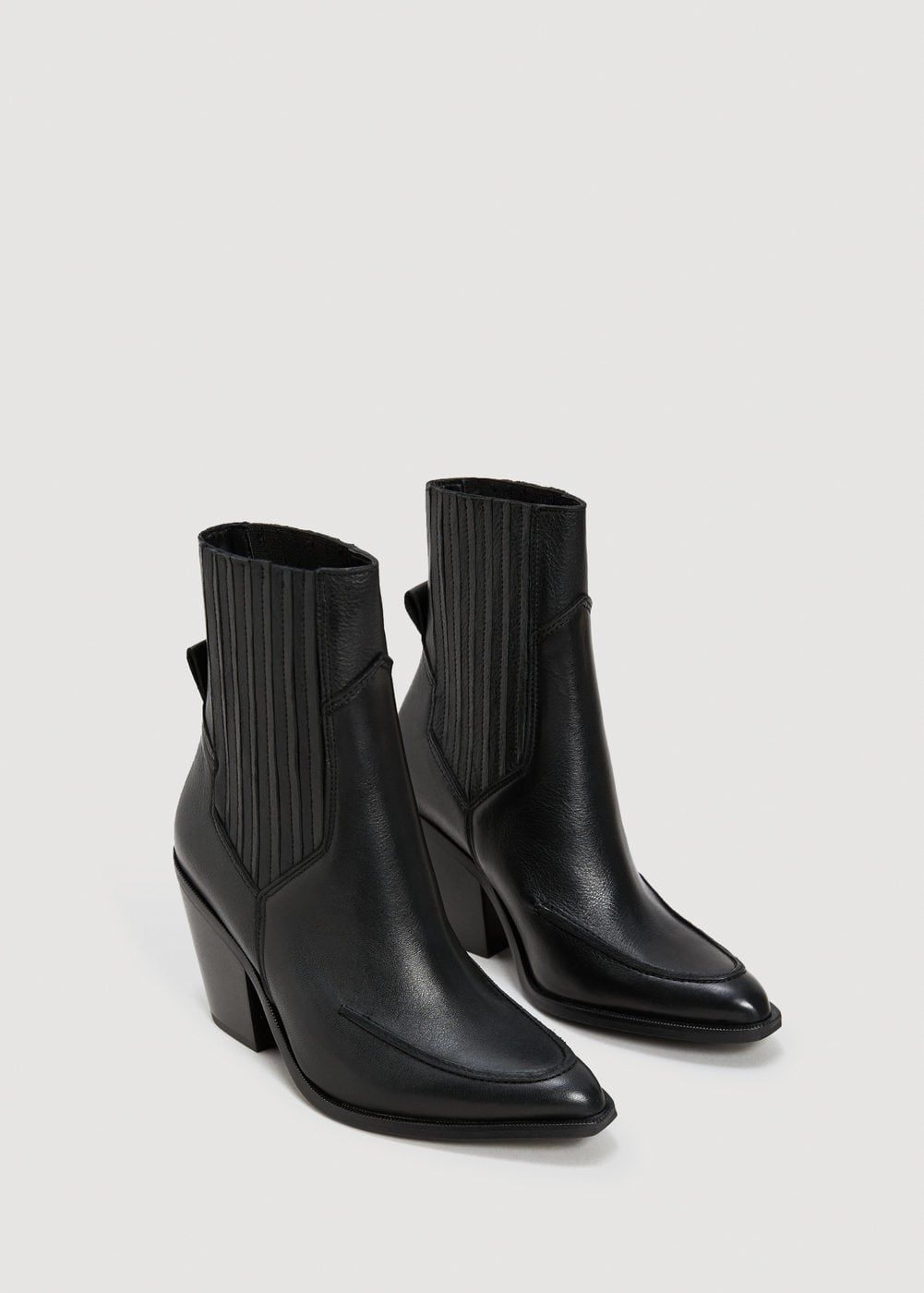 6f6fb7143dc0 Leather cowboy ankle boots - f foBoots and booties Women | MANGO USA