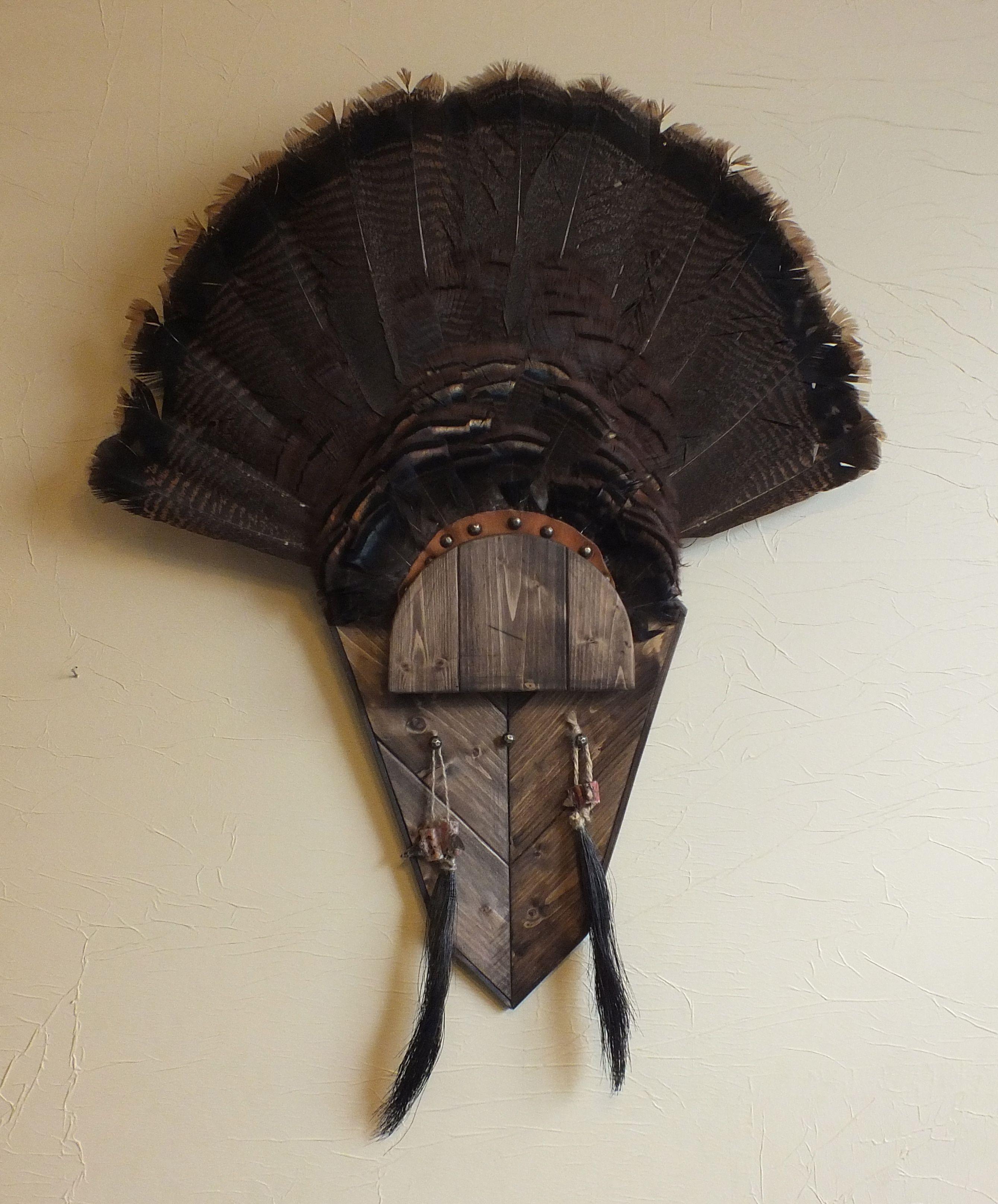 Dark Walnut Turkey Fan Mount Harvest Plaques Turkey Fan