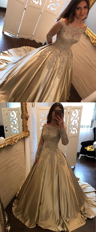 Wonderful satin offtheshoulder neckline ball gown evening dress