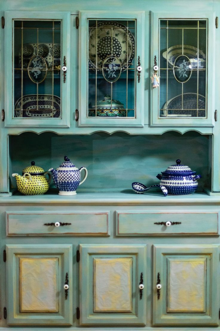 Annie Sloan chalk paint china cabinet redo. Description from ...