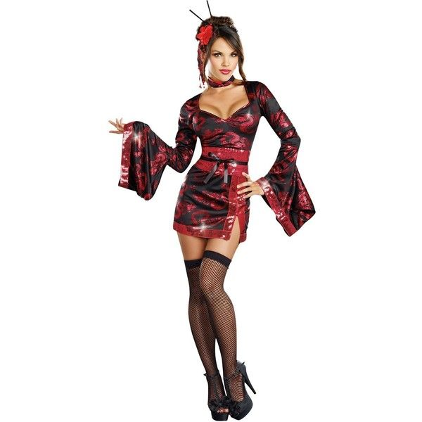The Geisha with the Dragon Tattoo Adult Costume ($35) ? liked on Polyvore featuring  sc 1 st  Pinterest & The Geisha with the Dragon Tattoo Adult Costume ($35) ? liked on ...