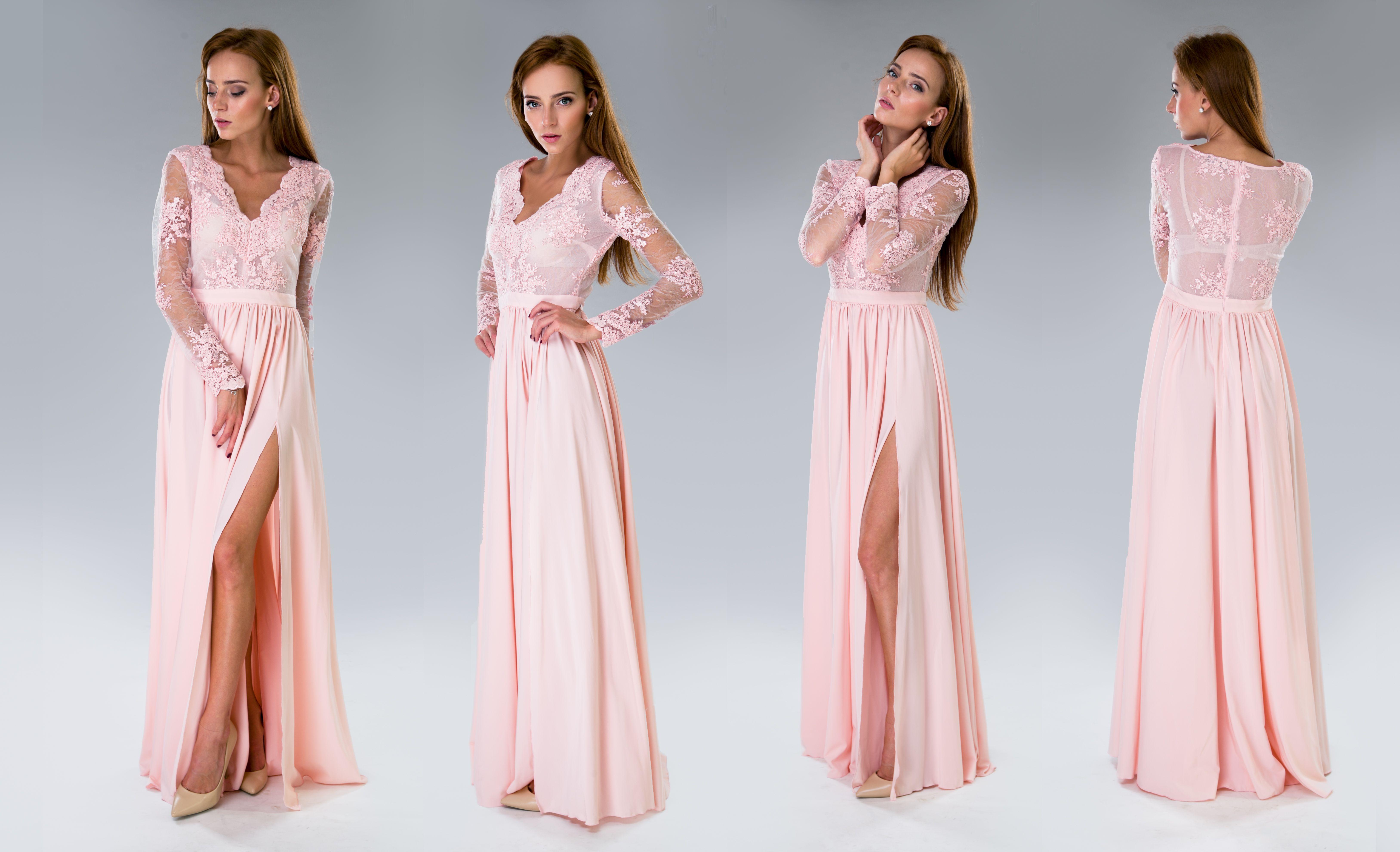 144321c760c4 Pohádkové růžové dlouhé šaty Luna