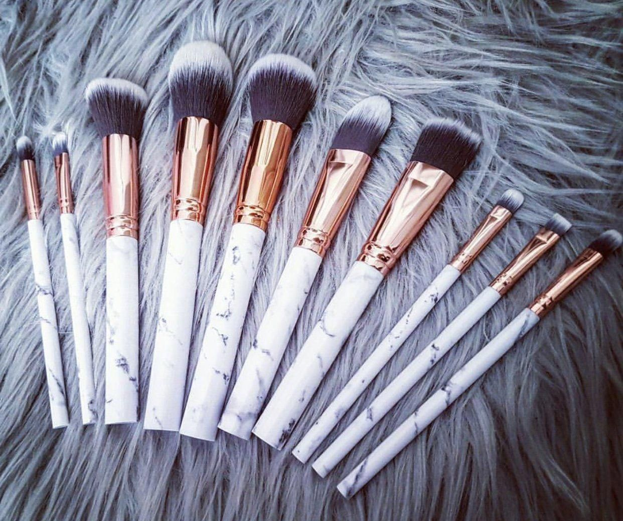 LUXE B MARBLE Makeup Brush, 10pcs. Including Eye Liner