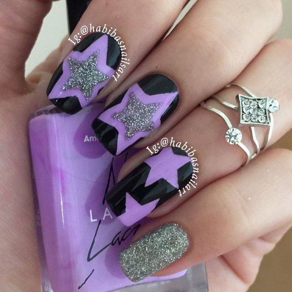 Black and Purple Star Nail. This is all sorts of perfect! I love it, so  clever! :) | Nail Art Community Pins | Pinterest | Clever, Star and Black - Black And Purple Star Nail. This Is All Sorts Of Perfect! I Love It
